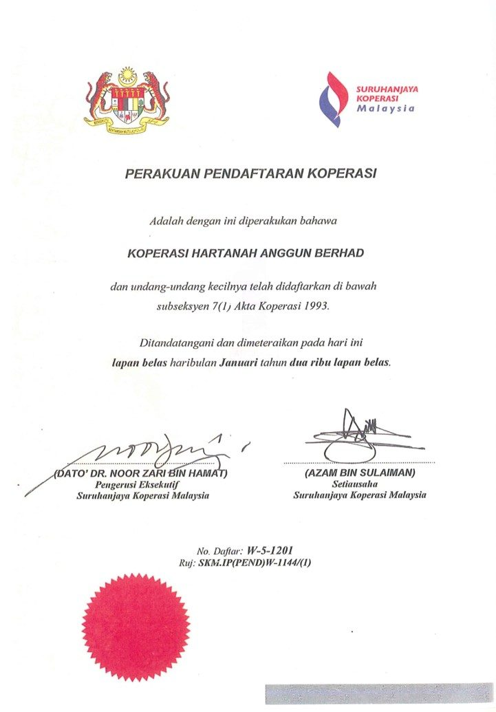 Sijil Koperasi SKM Koperasi Hartanah Anggun Berhad